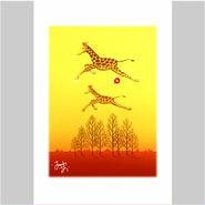「キリンさんの友情の風船」ポストカード