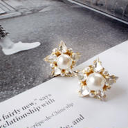 crystalpearl star pierce,earring