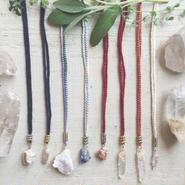 Gemstone / Cotton Code Necklace A