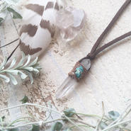 Crystal Point/Chrysocolla Pendant  G