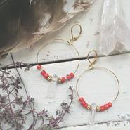 Crystal/Whitehearts Hoop Earrings