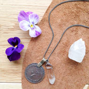 Old Coin/Crystal Necklace L