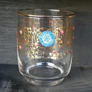 昭和レトロ 佐々木硝子 金縁グラス ゴールドリーフと紅い小花