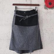 【women】Ordinary fits〈オーディナリーフィッツ〉 APRON SKIRT BLACK