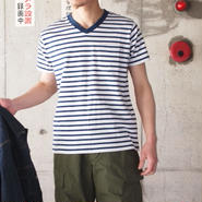 FRUIT OF THE LOOM〈フルーツオブザルーム〉 V-NECK PACK TEE(2枚組) NAVY BORDER