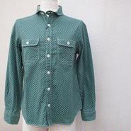 【SALE】【women】MANUAL ALPHABET〈マニュアルアルファベット〉 ビエラドットワークシャツ GREEN