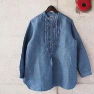 【women】a piece of Library〈ピースオブライブラリー〉 ラオスブルーシャツ (No.415309-1) BLUE