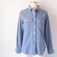 【SALE】【women】BLURHMS〈ブラームス〉 CHAMBRAY WORK SHIRTS NAVY