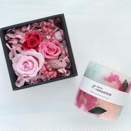 キャンドル&ボックスフラワーのギフトセット(ピンク)