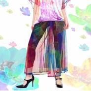 jibun-fuku コズミックフラワープリント セミワイドパンツ PT20