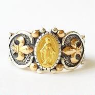 Maryメダル&ダイヤモンド シルバー&18Kゴールドリング(RMD1005)