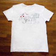 Tシャツ ある町にて 2 白 / ライムグリーン