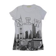 (Americal  Clothing)  ラインストーンロゴビルディングプリントTシャツ ホワイト