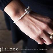 フランス製の可愛い丸のスフレガラスとリボンのようなケシパールのハーフブレスレット!(TJ10904)