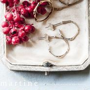 「しなやかで折れない」martine SV925 シルバーバンブーピアス(M045)