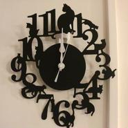 おとなっぽくシンプルな(=^▽^=)クロネコ掛時計