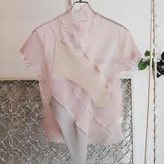 kotohayokozawa pleats see-through high neck top -pink-