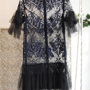 SHIROMA 17S/S BREAK embroidery tulle dress -black-