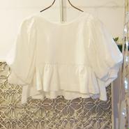 BANSAN big puffsleeve tops -white-