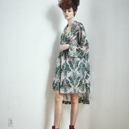 SHIROMA 17S/S BREAK embroidery gown mods coat -green-