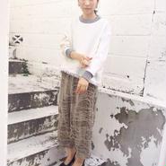 KAAI flannel fringe pullover -white-