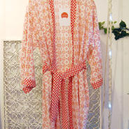 BANSAN lame print gown -red-