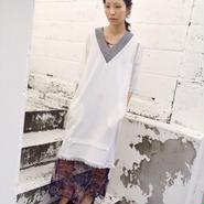 KAAI flannel fringe dress -white-