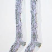 SHIROMA filament high socks -gray×lavender-