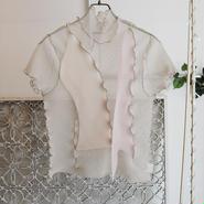 kotohayokozawa pleats see-through high neck top -beige-