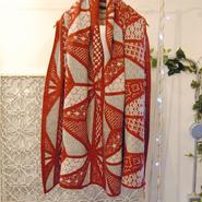 BANSAN sashiko wool shawl