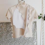 kotohayokozawa pleats high neck top -beige×white×gray-