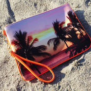 "Neoprene Clutch Bag ""Palmtrees"""