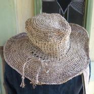 アフガン編み ヘンプコットンハット つば広め プレーンカラー