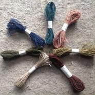 ヒマラヤンヘンプ草木染め  手紡ぎ糸 10m7色セット