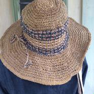 アフガン編み ヘンプコットンハット 2015 ミックスカラー つば広めタイプ