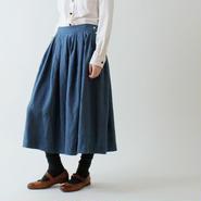 サイドボタン・リネンスカート/ディープ・ブルー