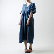 カシュクール風リネン・ワンピース/ディープ・ブルー