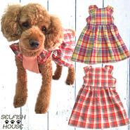 犬服 フリル袖 チェックワンピース 【3S~2L/DS/DM/FBサイズ】