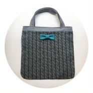 small tote summer fake knit black