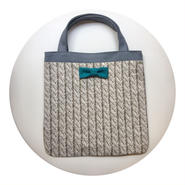 small tote summer fake knit grey