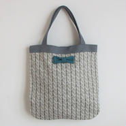 medium tote summer fake knit grey
