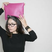 即売品leather pouch toxic pink