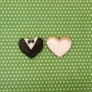 wedding thanks gift 向き ☆新郎新婦ハートカップルクッキー ~オーガンジーリボンラッピング付き~