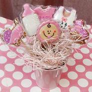 食べられるブーケ☆BABYミニクッキーブーケ6本☆ご出産祝いや内祝い、ベビーシャワーにぴったり!名入れ・メッセージ入れ無料☆彡