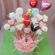 食べられるブーケ☆weddingクッキーブーケ15本☆結婚祝いや記念日のお祝いに!名入れ・メッセージ入れ無料☆彡