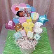 食べられるブーケ☆写真が入れられるBABYクッキーブーケ8本☆ご出産祝いや内祝い、ベビーシャワーにぴったり!名入れ・メッセージ入れ無料☆彡