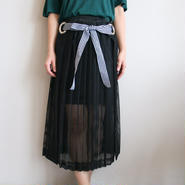 ストライイプリボンメッシュスカート