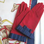 プリーツリボン手袋 [ red / navy ]
