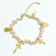 ピンクカラー 淡水パール × クロス × メダイ ブレスレット