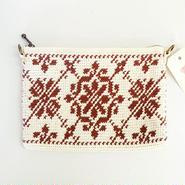 伝統模様の手編みポーチ ブラウン
